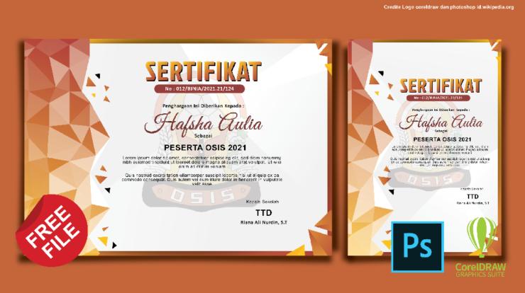 Download Desain Sertifikat OSIS Photoshop Dan Coreldraw